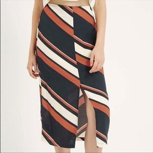 Topshop Vertical Stripe Midi Skirt with Slit